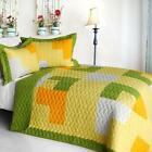 3 PC Zing green yellow orange white geometric 100% Cotton Queen Quilt Shams