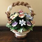 Vintage Capodimonte Made in Italy Ceramic Flower Basket Hand Painted