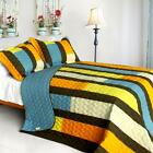 3 PC Colorful Bridge blue orange yellow stripes 100% Cotton Queen Quilt Shams