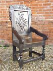 Late 17th Century English Antique Oak Wainscot Armchair, Circa 1680 Throne Chair