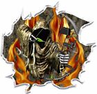 Ripped Forest Camo Flame Fire Grim Reaper Bow Hunter Hood Vinyl Graphic Decal