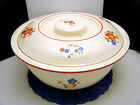 Homer Laughlin Kitchen Kraft Covered Casserole Bowl OvenServe Blue Orange Floral