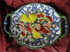 Fitz & Floyd Florentine Fruit, Blue: Oval Platter with Handles AS IS, 16 1/2