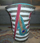 Antique WEDGWOOD Majolica Peacock Feather/Ribbon/Basket Weave UMBRELLA STAND