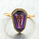 1890 Ladies Antique Victorian 9ct Yellow Gold Fancy Cut Amethyst Conversion Ring