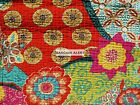 FLORAL MOROCCAN 3pc FULL QUEEN QUILT ORANGE YELLOW PINK GREEN FUCHSIA FLOWERS