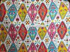 FLORAL FULL QUEEN QUILT 3PC ~ RED PINK AQUA YELLOW NAVY WHITE ORANGE DIAMONDS