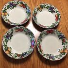SET SAKURA ONEIDA SONOMA EXCELL STONEWARE CHINA SALAD/SOUP BOWLS MULTI COLOR