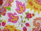 PAISLEY FLORAL 3pc FULL QUEEN QUILT YELLOW HOT PINK ORANGE GREEN TULIPS BOLD