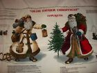 Vtg Cranston Olde World Father Christmas Santa Applique Fabric Panel Tree Gifts