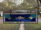 Victorian Style Stained Glass Window Beveled Panel Suncatcher Blue Tones 19x6
