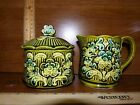 Vintage Majolica Sugar and Creamer Set Made in Japan Olive Green 1960's