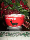 222 FIFTH NORTHWOOD COTTAGE SET OF 2 RED SOUP CEREAL BOWLS*NEW*WINTER/CHRISTMAS