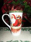 222 FIFTH HELLO SANTA SET/3 TALL LATTE COFFEE CUPS MUGS CHRISTMAS SANTA CHIMNEY