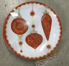 222 Fifth Constantina Red Appetizer Plates Set 4 Dessert Christmas Ornaments