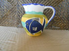 Pitcher colorful stripes blue fish design handmade Portugal