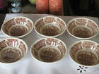 6 Alfred Meakin Fair Winds Fruit/Sauce Bowls Staffordshire England, Brown,5 1/8