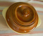Bean Pot Stoneware Pottery Brown Glazed With Lid Made In USA BP50 vintage