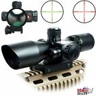 25 10x40 Tactical Rifle Scope Red Green Mil dot illuminated Red Laser Mount