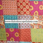 FLORAL MOROCCAN PATCHWORK 3PC FULL QUEEN QUILT ORANGE TEAL PINK YELLOW FLOWERS