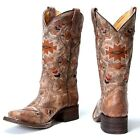 YOUTH GIRLS SQUARE TOE ETHNIC PATTERN COWGIRL BOOTS A3155 NIB