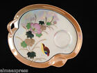 CO Japan China Orange Lustreware Iridescent Gold Bird Snack Plate / Tray