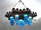 BR194 Antique Style Light Fixture Chandelier *Mouth blown Turquoise Glass Cups*