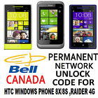 HTC NETWORK UNLOCK FOR BELL CANADA HTC WINDOWS PHONE 8S 8X RAIDER 4G