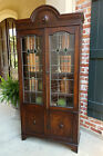 Antique English Oak Leaded Stained Glass BOOKCASE Display Cabinet Jacobean Dome