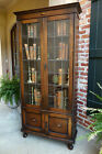 TALL Antique English Tiger Oak Leaded Glass BOOKCASE Display Cabinet Jacobean