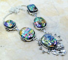 IMPRESSIVE HANDCRAFTED AAA RAINBOW DICHROIC GLASS SILVER NECKLACE 195 IN