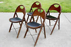 SET OF 4 ANTIQUE FOLD UP CHURCH DECK LAKE PRIMITIVE WOOD WOODEN CHAIRS VINTAGE
