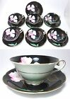 6 Set~Trimont China Occupied Japan Black Hand Painted Pink Floral Tea Cup Saucer