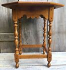 Vintage Ethan Allen Colonial-Style Tavern Side Table Solid Maple w/ Turned Legs