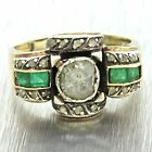 1880s Antique Victorian 14k Solid Yellow Gold Rose Cut Diamond Emerald Ring