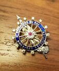 Ruby and Diamond Insignia 14k Gold Daughters of the American Revolution Pin
