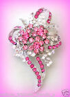 ROSE PINK CRYSTAL BREAST CANCER AWARENESS RIBBON FLOWER BROOCH PIN GIFT FOR HER