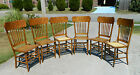 Set of 6 Oak Pressed Back Dining Chairs~Cane Bottoms