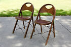 SET OF 2 ANTIQUE FOLD UP CHURCH DECK LAKE PRIMITIVE WOOD WOODEN CHAIRS VINTAGE