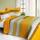 3 PC Smashing 100% Cotton Vermicelli Queen Quilt Shams geometric orange yellow