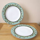 Set of 2 Sakura Warren Kimble Coastal Breeze Sailboats Blue Green Dinner Plates