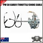 YAMAHA PW50 CARBURETOR CARBY THROTTLE + CHOKE CABLE Y ZING PEEWEE 50CC kids bike