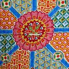 MOROCCAN FLORAL FULL QUEEN KING QUILT ~ 3PC ~ ORANGE BLUE TEAL YELLOW FUCHSIA