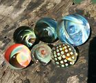 Set of 6 23 35 MM Hand Made Glass Folded Vortex Wave Spiral Boro Art Marbles
