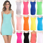 Summer Camisole Spaghetti Strap Long Tank Top Stretchy Slip Mini Dress Hot Women