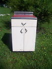 VINTAGE MID CENTURY WHITE METAL RED FORMICA TOP KITCHEN CABINET