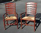 Set of 2 Cane Bottom Ladder Back Chairs