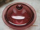 Corning Ware VISIONS CRANBERRY Glass 2.5L  ROUND CASSEROLE LID 2 PC COOKWARE