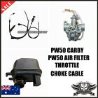 YAMAHA PW50 CARBURETOR THROTTLE + CHOKE CABLE AIR FILTER Y ZING PEEWEE 50CC bike