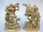 The ancient Chinese handmade bronze statue of a dragon phoenix mascot NR